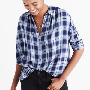 MADEWELL Blue Central Plaid Shirt